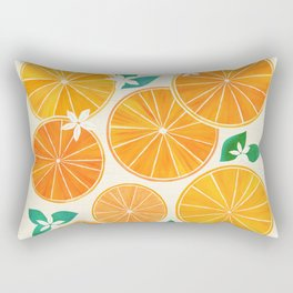 Orange Slices With Blossoms Rectangular Pillow
