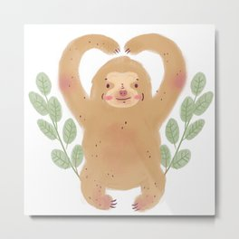 Cute Sloth with leaves illustration Metal Print