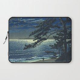 Kawase Hasui, Moonlight Over Ninomiya Beach - Vintage Japanese Woodblock Print Art Laptop Sleeve