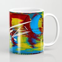 airplane Mugs featuring Airplane by Lue Brentwood