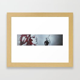 WHITE ON RED Framed Art Print