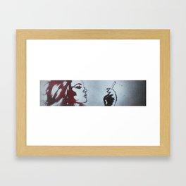 WHITE ON RED Framed Art Print