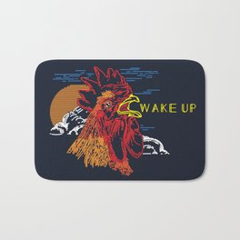 Wake Up Monoline Rooster Graphic Bath Mat