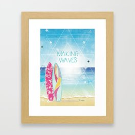 Making Waves - Sunset Framed Art Print