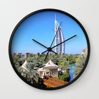 arab Wall Clocks featuring Dubai - Burj Al Arab by Art-Motiva