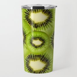 TROPICAL GREEN KIWI SLICED FRUIT MODERN ART Travel Mug