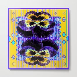 Western Style Double Purple & Gold Pansy Metal Print