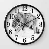 wolf Wall Clocks featuring Wolf by Anna Shell