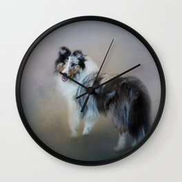 Did You Call Me - Blue Merle Shetland Sheepdog Wall Clock