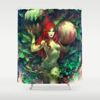 poison ivy Shower Curtains featuring Poison Ivy by Hai-ning