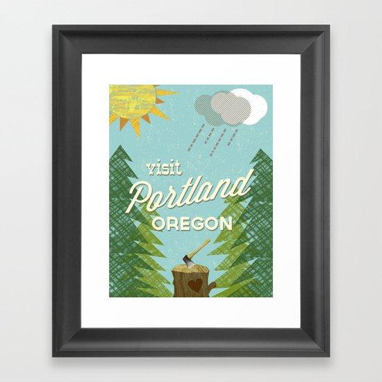 Portland Stumptown Framed Art Print