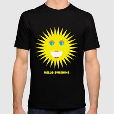 Hello Sunshine Black MEDIUM Mens Fitted Tee