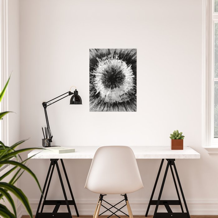 Black and White Tie Dye // Painted // Multi Media Poster