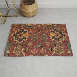 Flowery Boho Rug III // 17th Century Distressed Colorful Red Navy Blue Burlap Tan Ornate Accent Patt Rug