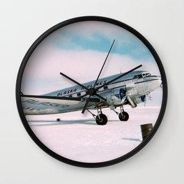 Vintage aviation photograph Alaska Airlines airplane air plane classic pilot flight travel photo Wall Clock
