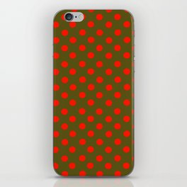 Brown and Red Polka Dot Party iPhone Skin