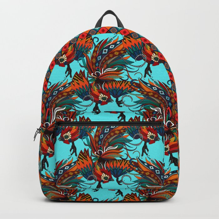 rooster ink turquoise Backpack