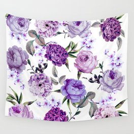 Elegant Girly Violet Lilac Purple Flowers Wall Tapestry