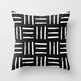Simple mudcloth pattern - black Throw Pillow