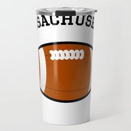 Massachusetts American Football Design black lettering Travel Mug
