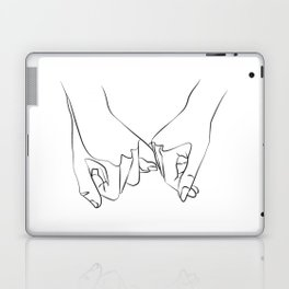 Pinky Swear Printable, One Line Drawing Print, Black White Hands Artwork, Hand Poster, Original Mini Laptop & iPad Skin