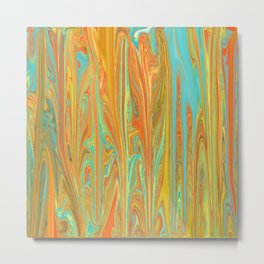 Abstract in Aqua, Orange, and Gold Metal Print