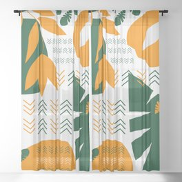Abstract bohemian garden Sheer Curtain