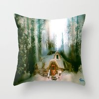 the hobbit Throw Pillows featuring HOBBIT HOUSE by FOXART  - JAY PATRICK FOX
