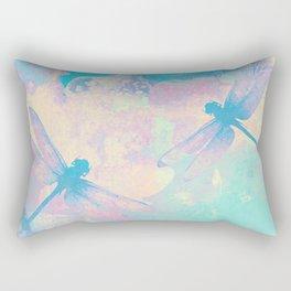 Blue Painting Dragonflies Rectangular Pillow