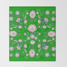 Folk Flowers in Green and Pink Throw Blanket