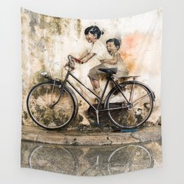 Kids on Bicycle - Reflections of Penang Wall Tapestry