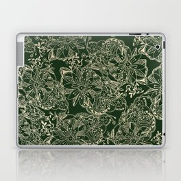 Hand painted gold forest green modern floral Laptop & iPad Skin