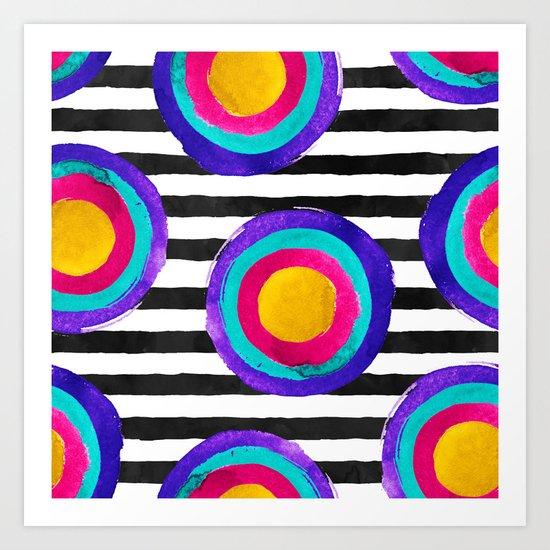 Watercolor stripes and circles Art Print