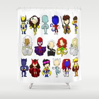 x men Shower Curtains featuring X MEN GROUP by Space Bat designs