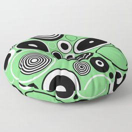 Geometric Black And White Rings On Pastel Green Floor Pillow