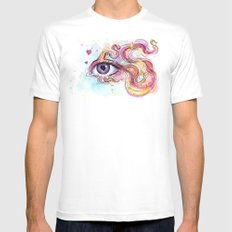 Eye Betta Fish Surreal Animal Hearts Watercolor White Mens Fitted Tee MEDIUM