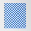 White and Brandeis Blue Checkerboard by colorfulpatterns