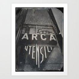 Bologna B&W Street Photography Vintage Shop Sign Art Print