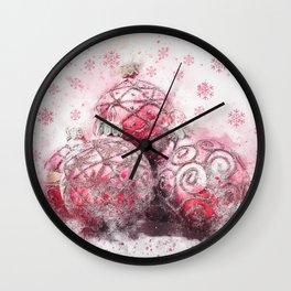 Elegant Christmas Red Ornaments Wall Clock
