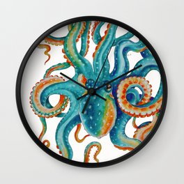 Octopus Teal Watercolor Ink Wall Clock