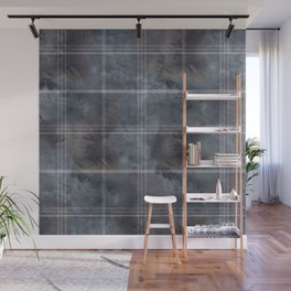 Felted Plaid Moody Blue Wall Mural