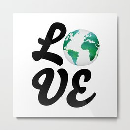 Love With Watercolor Planet - Climate Change Metal Print