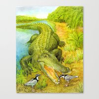 crocodile Canvas Prints featuring Crocodile by Natalie Berman