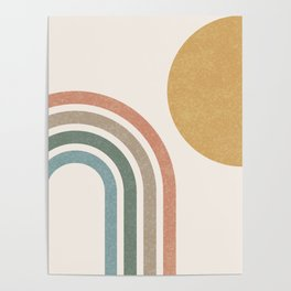 Mid Century Colorful Sun & Rainbow Poster