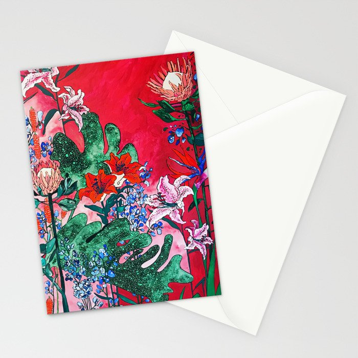 Ruby Red Floral Jungle Stationery Cards