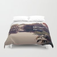 maine Duvet Covers featuring Maine Fog by KarenHarveyCox