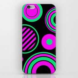 Retro Rings And Circles - Black, Purple And Green iPhone Skin