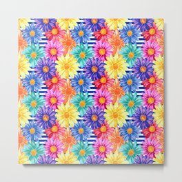 Cutesy Stripe Floral Metal Print