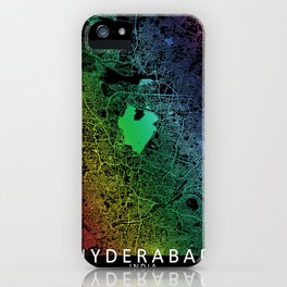 Hyderabad, India, City, Map, Rainbow, Map, Art, Print iPhone Case