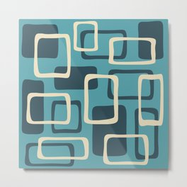 Mid Century Modern Abstract Squares Pattern 416 Metal Print